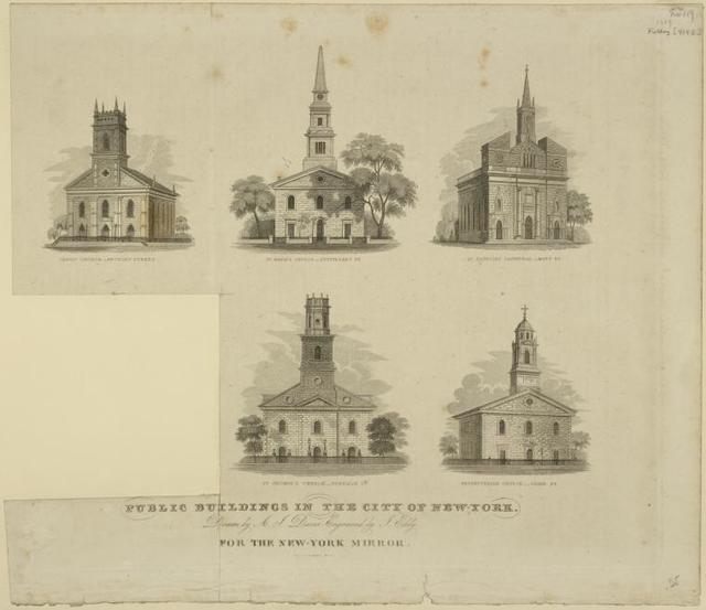 Public buildings in the City of New-York. Buildings shown are: Christ Church, Anthony Street; St. Mark's Church, Stuvesant St.; St. Patrick's Cathedral, Mott St.; St. George's Church, Beekman St.; Presbyterian Church, Cedar St.