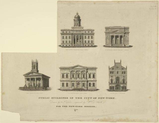 Public buildings in the City of New-York. Buildings shown are Merchant's Exchange, Wall-Street; 2nd Unitarian Church, Mercer C. Prince;  Jew's Synagogue, Elm Street; U.S. Branch Bank, Wall-Street; Masonic Hall, Broadway