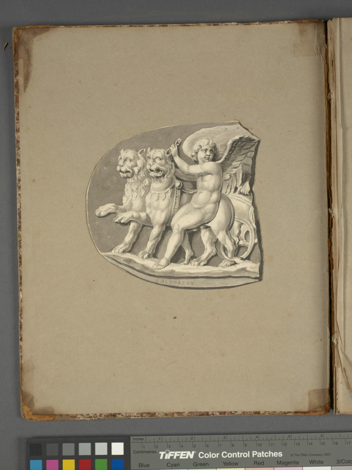 Putto with two lions pulling a chariot