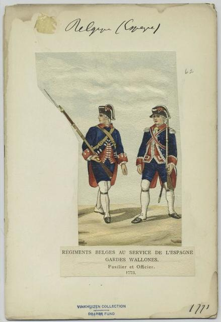 Régiments belges au service de d'Espagne. Gardes wallones. Fusiler et officier. 1773