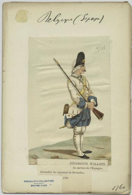 Régiments wallons au service de l'Espagne. Grenadier du régiment de Bruxelles. 1760.