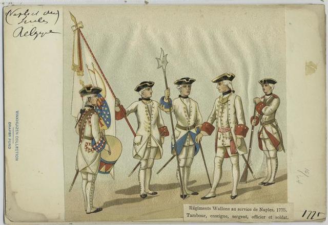 Régiments Wallons au service de Naples, 1775. Tanbour, ensiegne, sergetn, officier, et soldat.