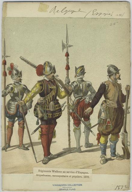 Régiments Wallons au service d'Espagne. Arqubusier, mousqutaire et piquiers. 1572.