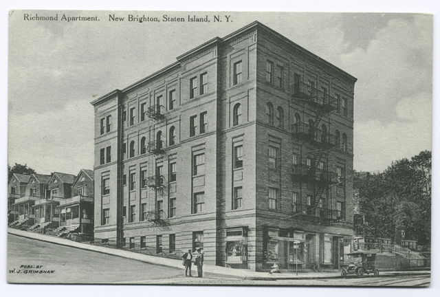Richmond Apartment, New Brighton, Staten Island, N.Y. [5-story apt. bldg., with row homes in back, two men in street and early century car]