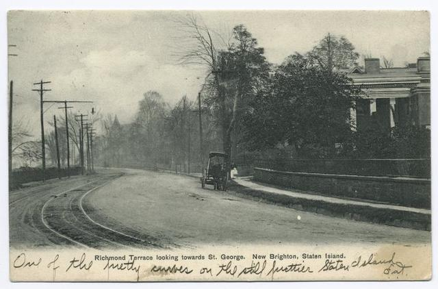 Richmond Terrace looking towards St. George, New Brighton, Staten Island  [horse and carriage parked in front of home,  light poles on opposite side of street, trolley tracks]