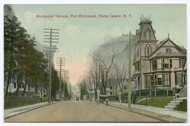 Richmond Terrace, Port Richmond, Staten Island, N.Y.  [wide street with electric poles and trolley, very large pink Victorian house]