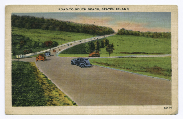 Road to South Beach, Staten Island  [old cars on road through grassland]