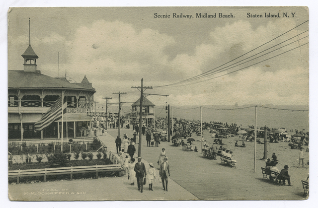 Scenic Railway, Midland Beach, Staten Island, N.Y. [people on boardwalk and the entrance]  building to the Scenic Railway;  ride itself is not in view)