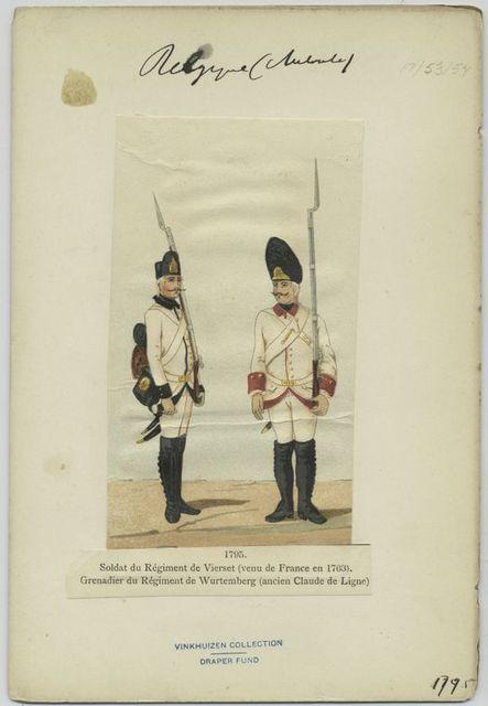 Soldat du régiment de Vierset (venu de France en 1763). Grenadier du régiment de Wurtemberg (ancien Claude de Ligne). 1795