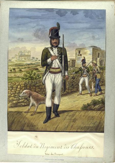 Soldat du Regiment des Chasseurs. Vue du Bosquet.