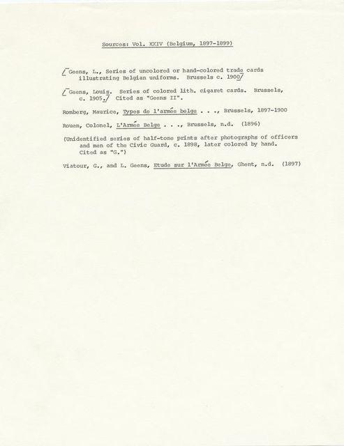 Sources : Vol XXIV (Belgium, 1897-1899)