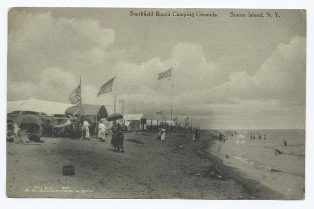 Southfield Beach Camping Grounds Staten Island, N.Y.  [camp sites, flags and people on shoreline.]