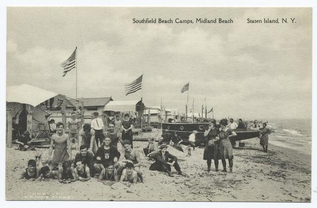 Southfield Beach Camps, Midland Beach Staten Island, N.Y.  [people in old bathing costumes on sand, sailing boat, cottages and flags]