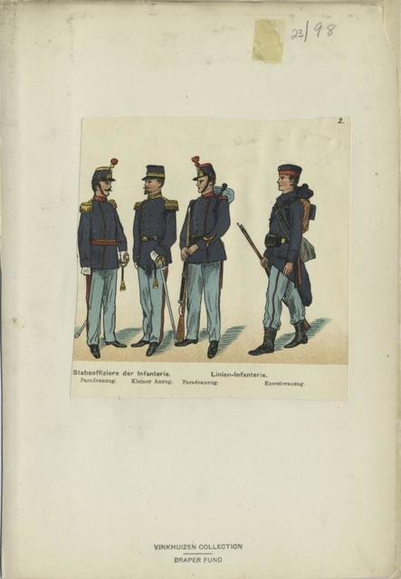 Stabsoffiziere der Infanterie, Paradeanzug, Kleiner Anzug, Linien-Infanterie, Paradeanzug, Ezerzieranzug