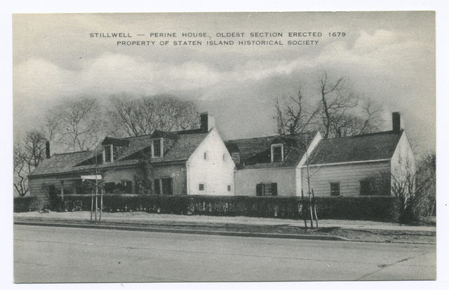 Stillwell-Perine House, Oldest Section Erected 1679, Property of Staten Island Historical Society [site of Alice Austen's and Gertrude Tate's Box Tree Tea Room]