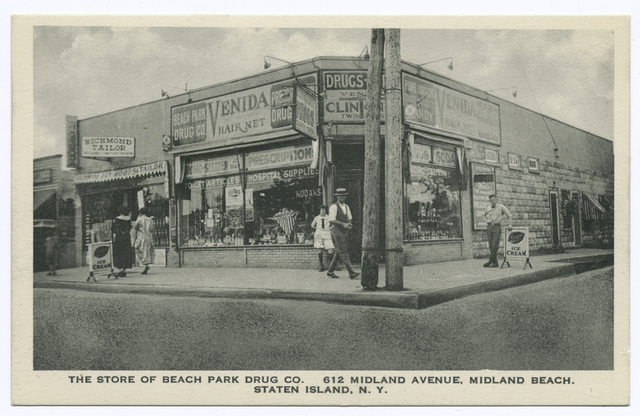 The Store of Beach Park Drug Co. 612 Midland Avenue, Midland Beach, Staten Island, N.Y.  [corner store with people and ad signs on façade and window, i.e., Breyers, Bromo Seltzer, Kodaks: next store is Richmond Tailor, Pub. Beach Park Drug Co.]