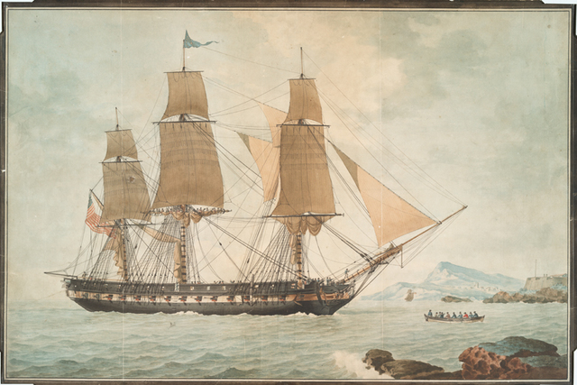 [The United States ship President entering the harbor of Marseilles.]