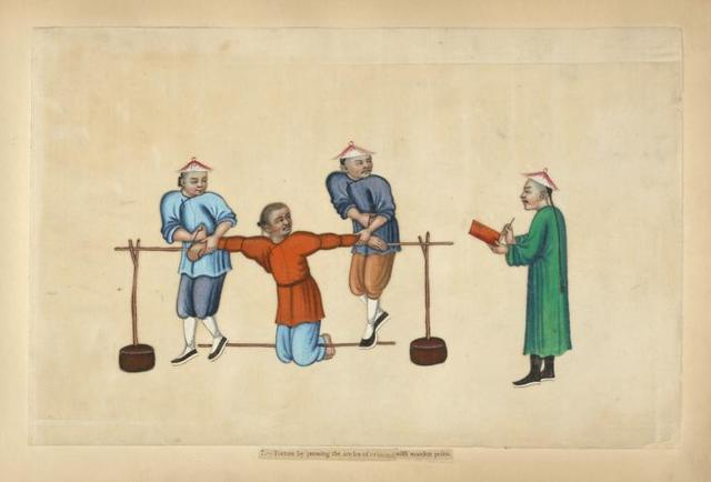 Torture by pressing the ancles [sic] of criminal with wooden poles.