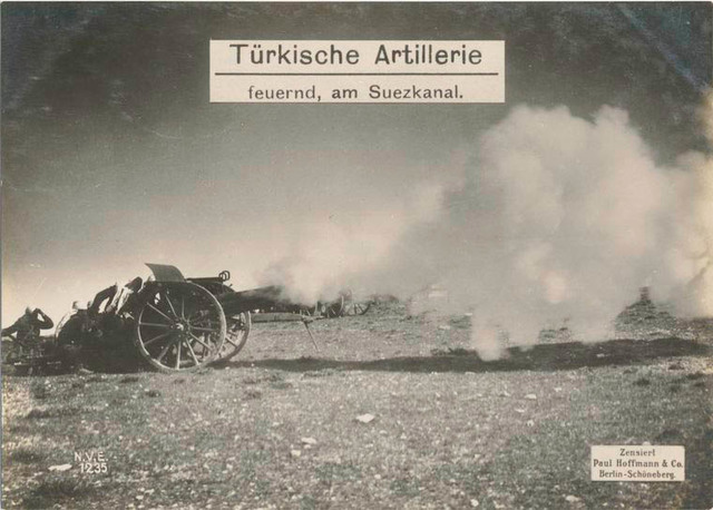 Türkische Artillerie feuernd, am Suezkanal.