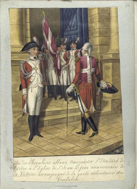 Un des Chevaliers allant transporter l'Etendard de l'Ordre à l'Eglise de St. Jean le jour anniversaire de la Victoire accompagné de la garde volontaire du Gonfalon.