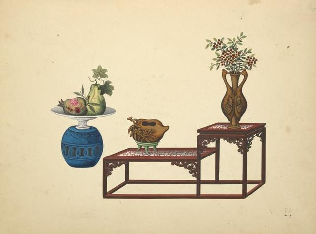 Urn with dish, bi-level table with vases.