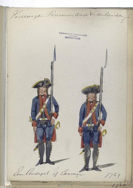 Vereenigde Provincien der Nederlanden. Een Constapel of canonnier. 1749