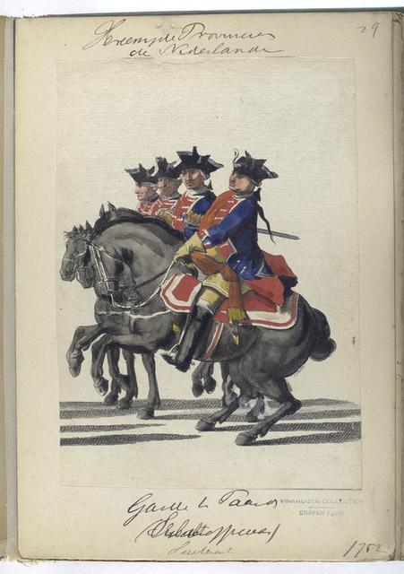 Vereenigde Provincien der Nederlanden. Guardes te Paard (Onderofficiers, Luitenant).  1752