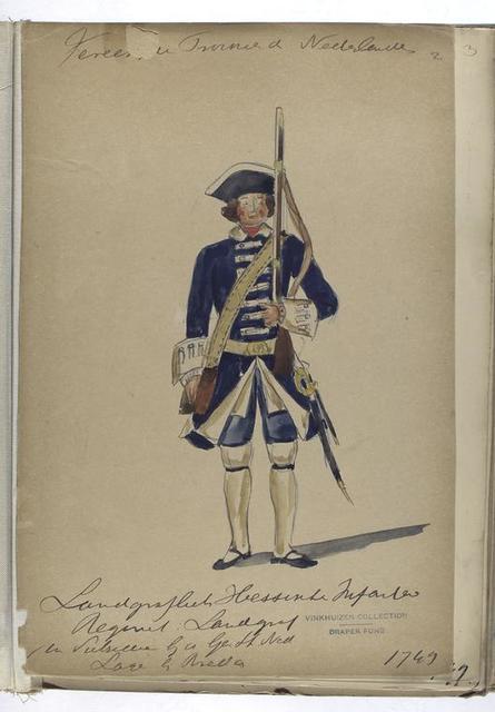 Vereenigde Provincien der Nederlanden.  Landgraf Hessische Infanterie Regiment : Landgraf... 1749