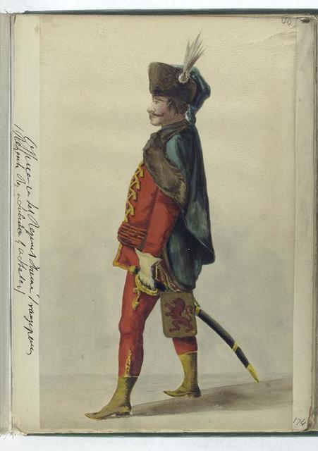Vereenigde Provincien der Nederlanden.] Officier van het Regiment Hissaren Frangep [?] (...). 1748