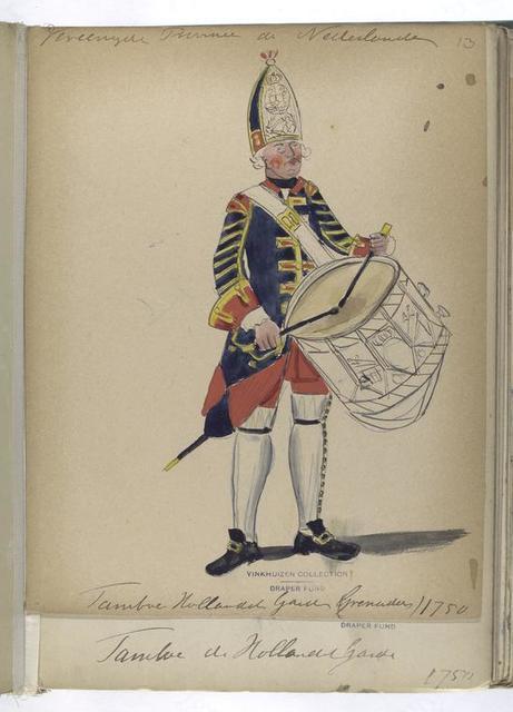 Vereenigde Provincien der Nederlanden. Tambor, Hollandsche Guardes. 1750