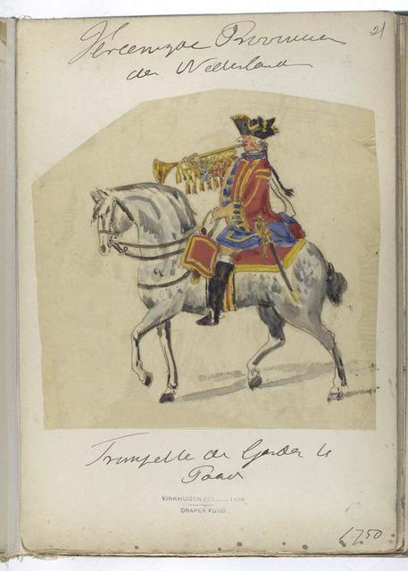 Vereenigde Provincien der Nederlanden. Trompetter der gardes te Paard. 1750