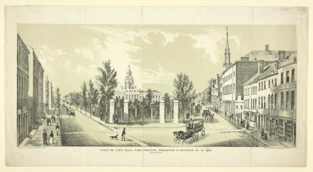View of City Hall, Park Theatre, Broadway & Chatham St. &c 1822