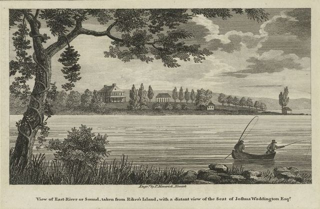 View of East River or Sound, taken from Riker's Island, with a distant view of the seat of Joshua Waddington Esq.