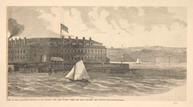 View of Fort Lafayette, situated at the Narrows, New York Harbor, where the state prisoners are confined. Taken from Fort Hamilton.