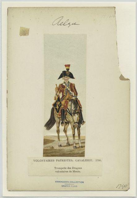 Volontaires patriotes. Cavalerie. 1790. Tompettes des dragons volontaires de Menin.