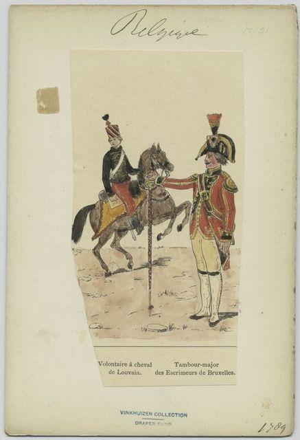 Voluntaires à cheval de Louvain. Tambour-major des escrimeurs de Bruxelles.
