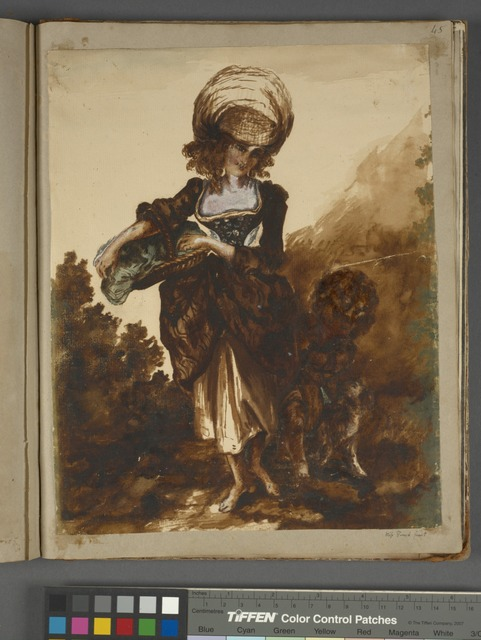 Woman with basket, child and dog at her side, by Miss Finch