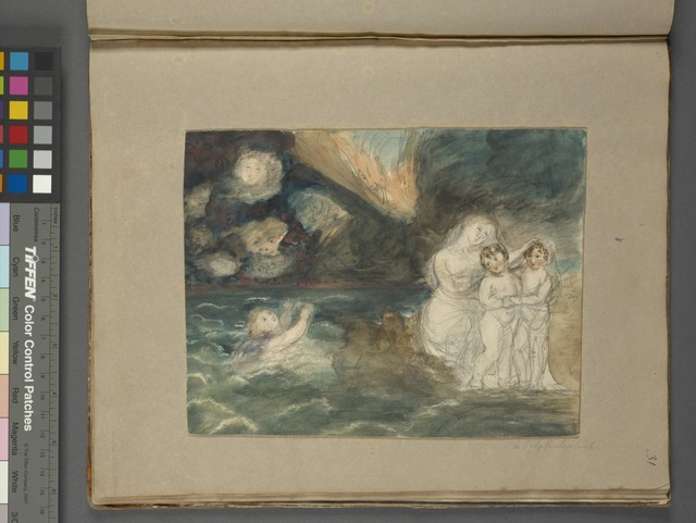 Woman with children, sky spirits, and a putto in the water, by Caroline Lamb