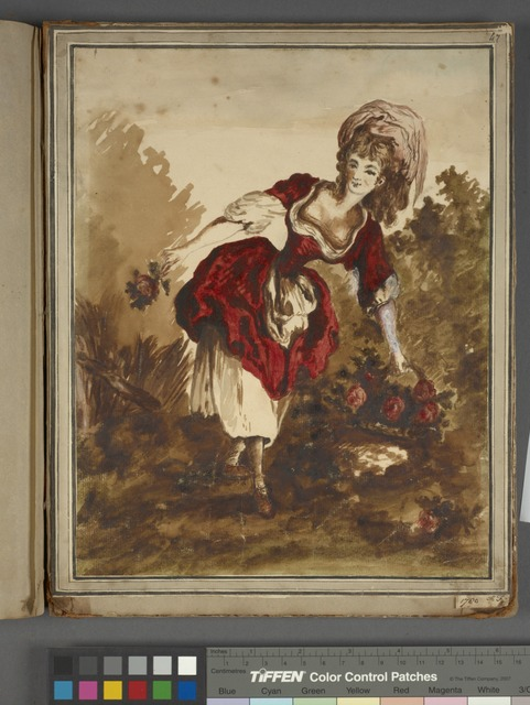 "Woman with flower basket,  signed ""1780 H. F[inch]"""