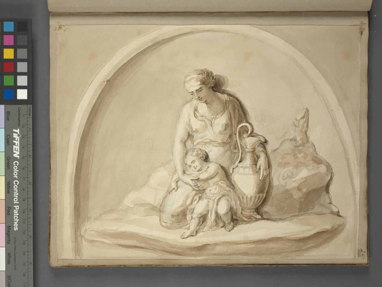 Woman with vase and child