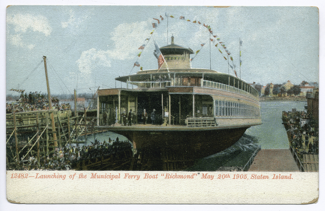 12482-Launching of the Municipal Ferry Richmond May 20th 1905, Staten Island [flag-decorated ferry, lots of people on dock]