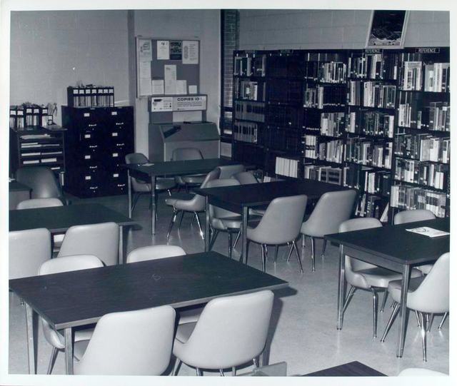 Bookshelves, tables, chairs at the Dongan Hills Library