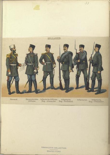 Bulgaren. General; Generalstabs-Offizier; Infanterie-Offizier, Reg. Alexanader; Infanterie, Reg. Ferdinand; Infanterist; Infanterie, Reg. Clementine.
