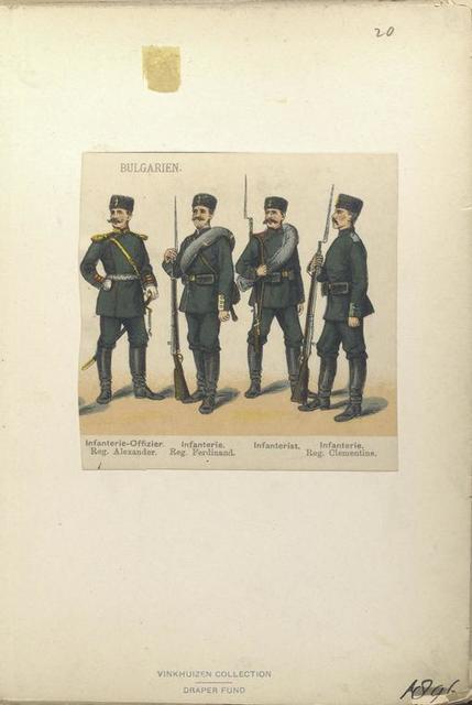 Bulgarien. Infanterie-Officier, Reg. Alexander; Infanterie, Reg. Ferdinand; Infanterist; Infanterie, Reg. Clementine. (1896)