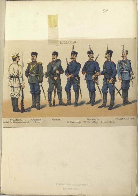Bulgarien. Infanterie, Soldar in Sommertracht; Artillerie Offizier; Pionier; Cavallerie, 1.Cav.-Reg., 2. Cav.-Reg. 3. Cav.-Reg.; Flügel-Adjutant.