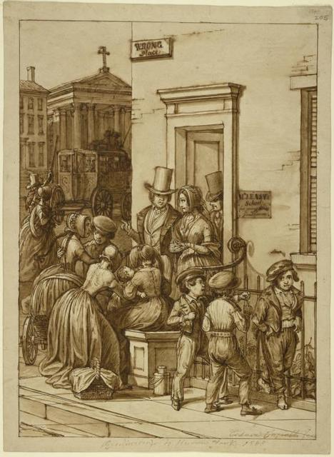 """Corner house ; sign at door: """"Mr. J. Easy's School for Young Ladies and Gentlemen."""" Over door, to left : """"Wrong Place."""" People coming out of door, and doorstep : 3 boys at fence. To left: couple hailing stage passing church"""