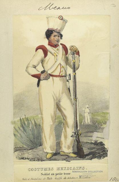 Costumes mexicains. Soldat en petit tenue. Veste et pantalons de toile. Coeffe de Schakos en Mousseline.