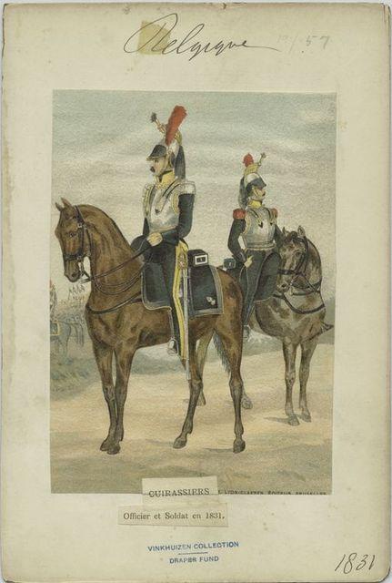Cuirassiers. Officier et soldat en 1831.