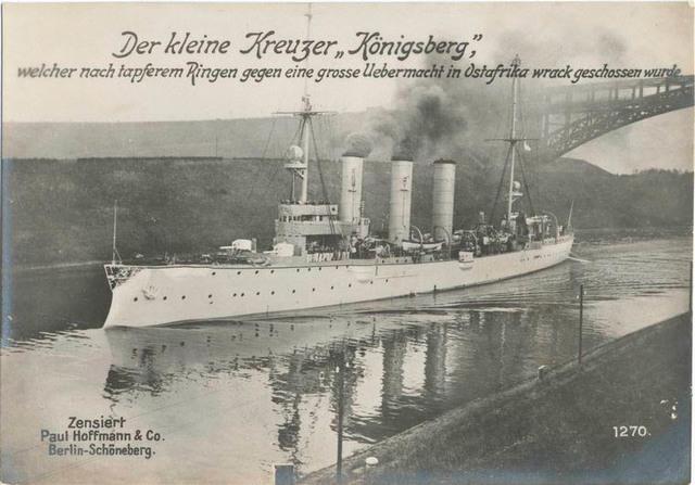 Der kleine Kreuzer Königsberg, welcher nach tapferem Ringen gegen eine grosse Uebermacht in Ostafrika wrack geschossen wurde.