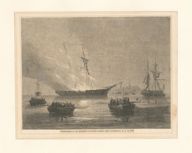Destruction of His Majesty's schooner Gaspee, near Providence, R.I.,  in 1772.